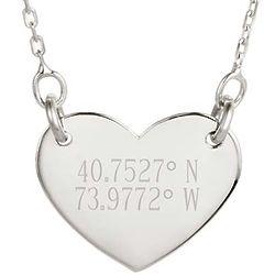 Custom 2 Line GPS Coordinates Silver Heart Necklace