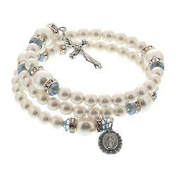 Pearl & Crystal Miraculous Medal Bracelet