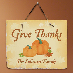 Give Thanks Personalized Slate Plaque