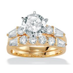 DiamonUltra Cubic Zirconia 10k Gold Bridal Ring Set