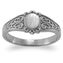 Sterling Silver Top-Engraved Oval Signet Ring
