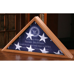 Personalized Oak Flag Display Case For Burial Flag
