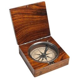 Brave New World Polished Wood Pocket Compass