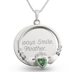 Sterling Silver Green Claddagh Necklace