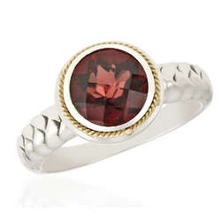 Calypso 18K Yellow Gold and Sterling Silver Garnet Ring