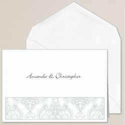 Elegant Damask Thank You Notes with Envelopes