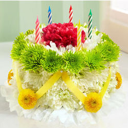 Carnations and Poms Birthday Flower Cake