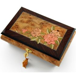 A Rose in Transition Wood Inlay Musical Jewelry Box