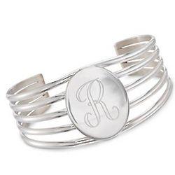 Sterling Silver Large Monogram Cuff Bracelet