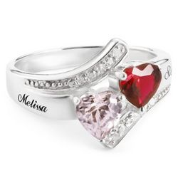 Sterling Silver Couple's Heart Ring with Diamond Accents
