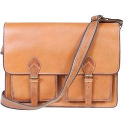 Leather Flap-Over Computer Brief
