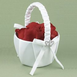 Rhinestone Linked Hearts Flower Basket