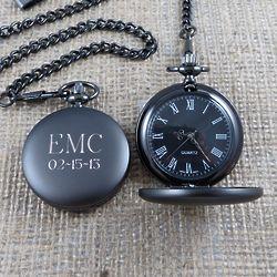 Gunmetal Monogrammed Pocket Watch