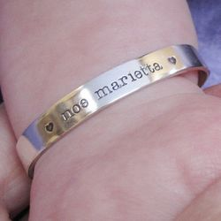 Baby's Personalized Hand Stamped Sterling Silver Bracelet