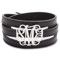 Personalized Fancy Script Silver Monogram Leather Wrap Bracelet