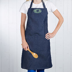 Embroidered Monogram Denim Apron