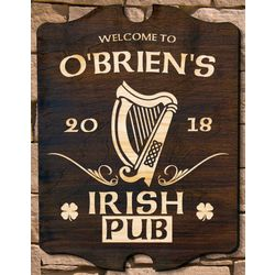 Personalized Celtic Harp Custom Pub Sign