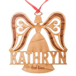 Personalized Wooden Angel Ornament