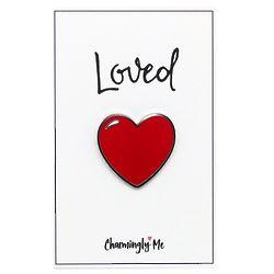 Loved Heart Enamel Pin on Greeting Card