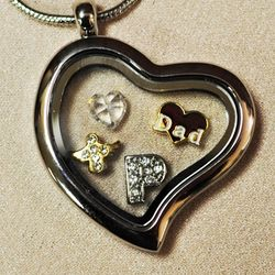 Loss of Father Heart Locket with Charms