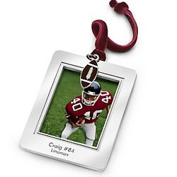 Picture Frame Christmas Ornament with Football Charm
