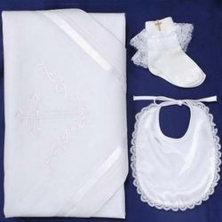 Embroidered Cross Baptism Gift Set