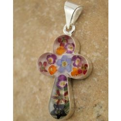 Rounded Sterling Silver Cross with Real Multi-Colored Flowers