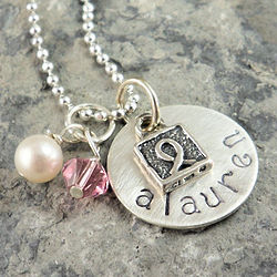Breast Cancer Awareness Charm and Personalized Stamped Necklace