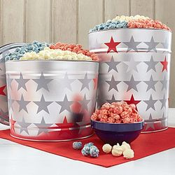 Patriotic Star Tin with Red, White and Blue Popcorn