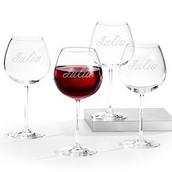Engraved Red Wine Glass Set