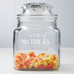 No Tricks, Just Treats Engraved Glass Jar