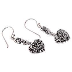 Sterling Silver Blooming Heart Dangle Earrings