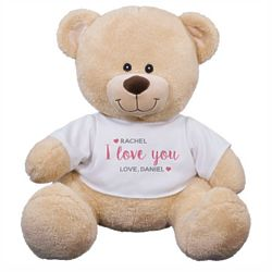 Teddy Bear Stuffed Animal in Personalized I Love You Shirt