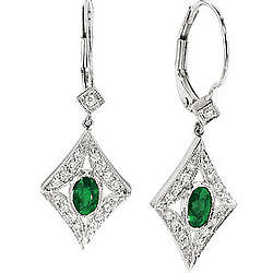 Diamond Oval Emerald Antique Style Drop Earrings