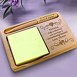 Personalized Diamond Wooden Notepad & Pen Holder