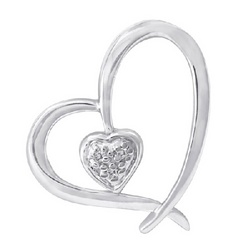 Diamond and 14k White Gold Open Heart Pendant