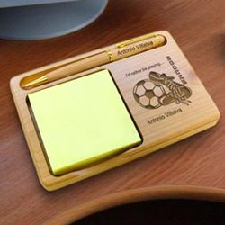 Personalized Soccer Wooden Notepad & Pen Holder