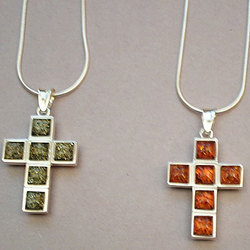 Two Sided Amber and Sterling Silver Cross Pendant