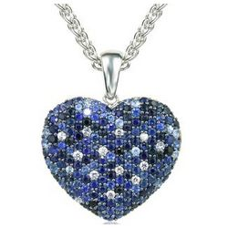 Balissima Sapphire Heart Pendant Set in Sterling Silver