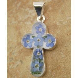 Rounded Sterling Silver Cross with Real Blue Flowers