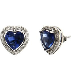 Sterling Silver Micro CZ and Sapphire Heart Earrings