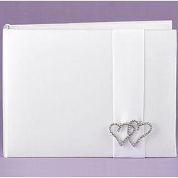 Rhinestone Linked Hearts Guest Book
