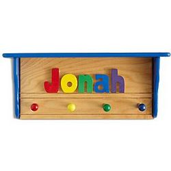 Primary Colors Personalized Name Puzzle Shelf Coat Rack
