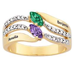 Couple's Two-Tone Name and Marquise Birthstone Diamond Ring
