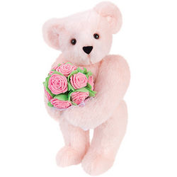 15 Inch Pink Rose Bouquet Teddy Bear