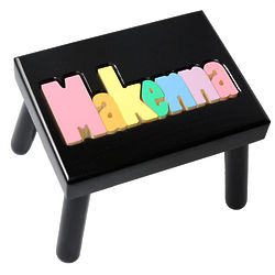 Personalized Name Stool in Black with Pastel Colors