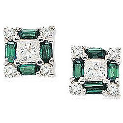 14K White Gold Diamond and Emerald Princess Stud Earrings