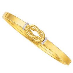 14K Two Tone Gold Linking Slip-On Bangle Bracelet