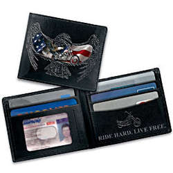 American Chopper and Eagle Themed Leather Wallet