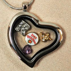 Loss of Grandma Heart Locket with Charms